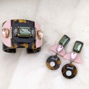 J.Crew Pink & Tortoise Earrings & Bracelet Set